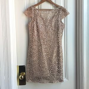 Kay Unger Cap Sleeve Lace Overlay Sequin Dress